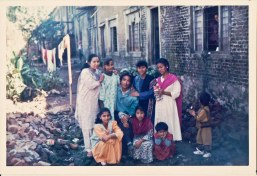 Chitwan Cultural Family visiting Gorkha, 1991. Identified artists: Back row from right - Maya Gajmer, Barsha Gajmer, Khusiram Pakhrin, Sharada Shrestha.