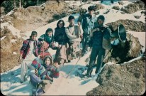 Chitwan Cultural Family, Rolpa Nuwagaun, 1992. Back row, left to right - Maya Gajmer, Sharada Shrestha, Barsha Gajmer, Suman, two unidentified men. Front: Chunu Gurung.