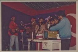 Chitwan Cultural Family artists at picnic, 1995. Suman Gajmer, Sharada Shrestha, Maya Gajmer, Barsha Gajmer, Khusiram Pakhrin