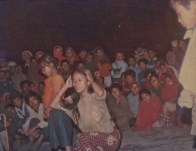 Chitwan Cultural Family performing an opera in Chandranagar village, Chitwan. Early 1990s.