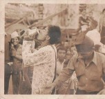 Khusiram Pakhrin, early 1980s. Drinking water, tired after singing.