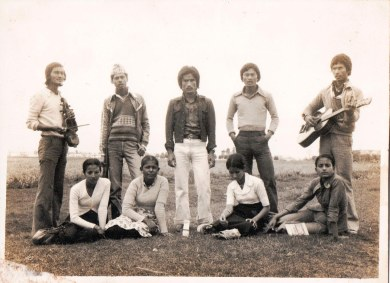 Hari Anjan, Sabitri GC, Shanti Thapa, Gokarna Thapa, and others in Chitwan Youth Club, c. 1982.