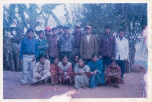 In Makwanpur with local people, 1995 or 1996.