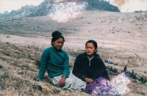 Bandana Pun Magar, Elina Thapa Magar, main artists of Pratirodh Cultural Family. Place and date unknown; during People's War.