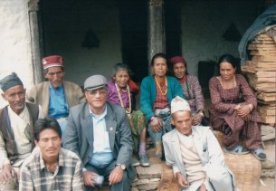 Khusiram Pakhrin with locals in Sindhupalchowk, 2007.