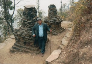 Khusiram Pakhrin at a chorten in Sindhupalchowk Pangtang.