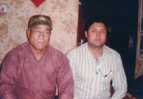Khusiram Pakhrin with film actor Nawan Khadka, c. 2009.